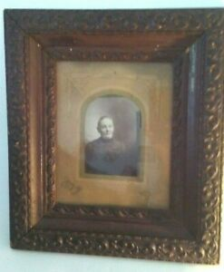 Must See Antique Carved Wooden Picture Frame With Original Rare Mat And Photo