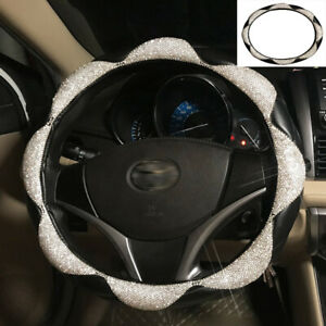 Diamond Leather Steering Wheel Cover With Bling Crystal Rhinestones Universal