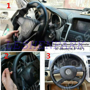 Black red Pu Leather Warming Car Steering Wheel Diy Cover For Ford 37 38cm