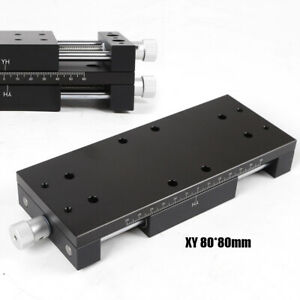 Xy Axis Manual Stage Sliding Table Adjust Platform Aluminium Guide 80 80mm