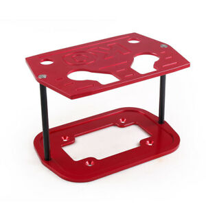 Ball Milled Billet Aluminum Hold Down Bracket Tray Red For 34 78 Optima Battery