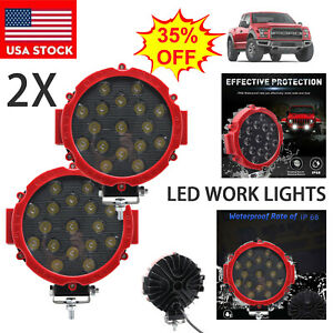 2x 7inch 51w Round Off Road Led Work Lights For Jeep Truck Bumper Driving Red