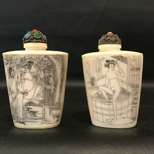 Vintage Asian Chinese Erotic Snuff Or Scent Bottle Lot Of 2 Erotica