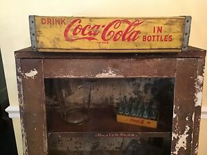 Antique Coca Cola Yellow Wood Divided 24 Bottle Wooden Case Crate