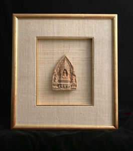 Thai Southeast Asia Terracotta Buddhist Triad Tablet Mounted In Gilt Frame