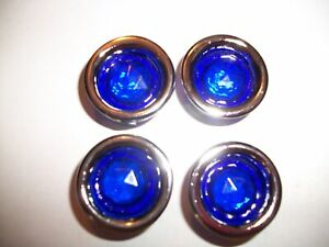 Blue Dot Plastic Two Part Tail Light Lens With Chrome Bezel Pack Of Four New
