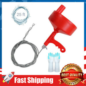 Plumbing Snake 25 ft Drain Auger Clog Remover Plumbing Pipe Unblocker Cleaner