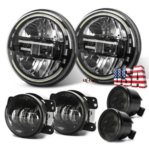 7 Round Led Headlight Angle Eyes Fog Light Turn Signal Combo Kit For Jeep 07 17