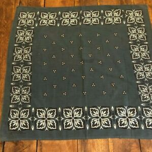 Vintage American Cotton Bandana Forest Green 100 Cotton C 1940 60