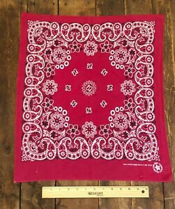 Vintage American Cotton Bandana Red White 100 Cotton Made In Usa C 1940 60