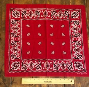 Vintage American Cotton Bandana C 1940 60 Classic Red White Black Fast Color