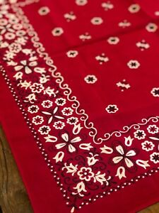 Vintage American 100 Cotton Bandana C 1940 60 Classic Red White Fast Color