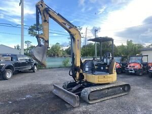 2007 Caterpillar 304c Cr Open Cab Push Blade Rubber Tracks Auxiliary Hyd