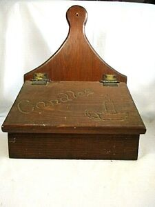 Antique Hanging Primitive Wood Candle Box With Lid