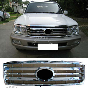 Front Hood Bumper Abs Chrome Grill Grille For Toyota Land Cruiser Lc100 2006 07
