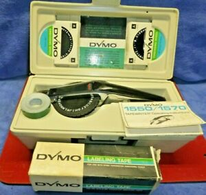 Vintage Dymo Typewriter 1550 1570 Label Maker Case 2 Extra Wheels 10 Red Tapes
