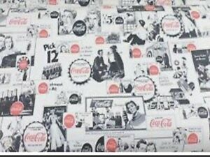 Vtg 1991 Rare Discontinued  Coca Cola Village Wallcovering Double Roll 60 Sq Ft