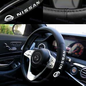 New Faux Leather For Nissan New Black 15 Diameter Car Auto Steering Wheel Cover
