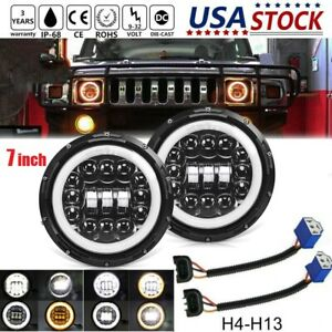 Pair Led Headlights 7 Round Halo Ring Amber Angel Eyes For 2006 2007 Hummer H3
