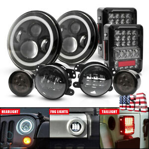 For Jeep Jk 07 18 Tail Light 7 Led Headlight Fog Lamp Turn Signal Combo Kit 8pc
