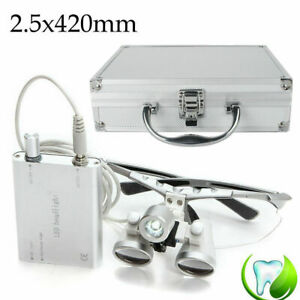 Portable Dental Surgical Loupes 2 5x 420mm Led Head Light Lamp Carry Case