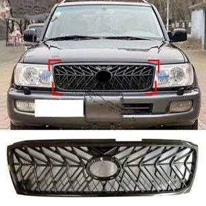 Black Grille Front Bumper Center Grill Decor For Toyota Land Cruiser Lc100 03 05