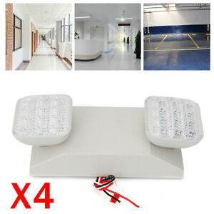 4xled Emergency Exit Light Lamp Lighting Fixture Twin Square Heads Waterproof Us