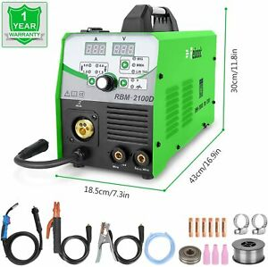 Power Mig Welder Flux Core Wire Automatic Feed 210 Amp 110v 220v Multi Process