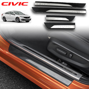 4 fit For Honda Civic Sedan 2016 2020 Door Sill Scuff Plate Guard Door Entry Pad