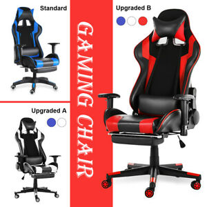Gaming Chair Racing Ergonomic Recliner Office Swivel Computer Desk Seat Footrest