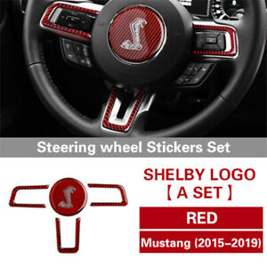 Carbon Fiber Steering Wheel Whole Set Sticker For Ford Mustang 2015 2017 Red B