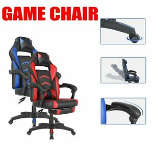 Gaming Chair Reclining Racing Office Chair W Lumbar Support And Footrest