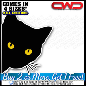 Black Cat Peeking Decal Sticker Car Laptop Phone 300278