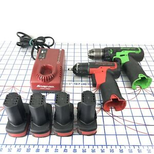 Snap on 14 4v Cordless Electric Green Drill 1 4 Impact 4 Batteries Charger
