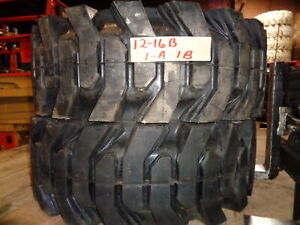2 Used Summit Solid Skid Steer Tires 12x16 5 With Rims Free Shipping