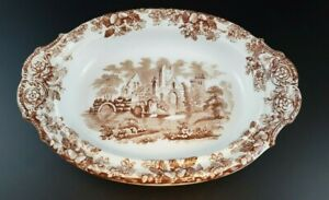Rare Brown Acora Abbey Ruins Oval Pedestal Dish By Copeland Spode