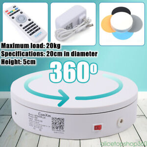 20cm Electric Rotary Table Remote Control Turntable Rotating Platform White 110v