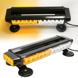 Led Emergency Strobe Light Bar Roof Traffic Advisor Beacon Amber white Magnetic