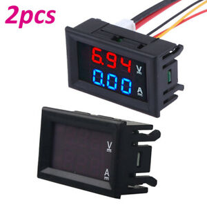 2pc Dc 100v 10a Voltmeter Ammeter Blue red Led Dual Digital Volt Amp Meter Gauge