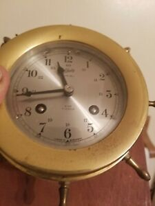 Vintage Schatz Sohne Ships Bell Clock 8 Day 7 Jewels Brass Germany