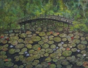 Fine Korean Minhwa Folk Hand Painting Lotus Pond Bridge Signed Framed