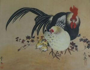 Large Korean Minhwa Folk Hand Painting Chicken Family Signed Framed
