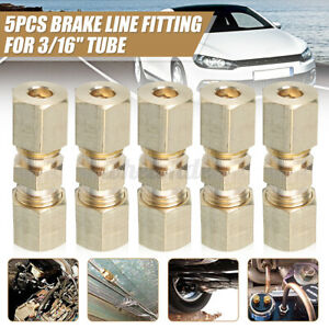 5 Pcs Brass Compression Fitting Connector 3 16 Od Hydraulic Brake Line Unions