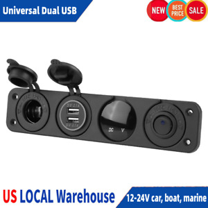 Universal Toggle Rocker Switch Panel W Dual Usb Car Boat Marine Rv Truck Led