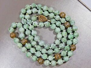 Antique Chinese Hand Knotted Mutton Fat Jade Silver Filigree Bead 32 Necklace