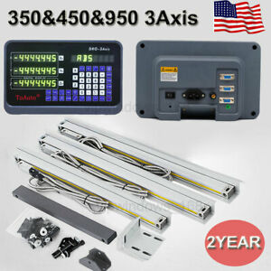 Us 3axis Digital Readout Dro Display Ttl Linear Glass Scale 350 450 950mm Kit