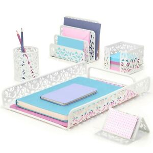 Hudstill Cute White Desk Organizer Set For Women And Girls Home Office