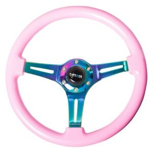 3 Spoke 350mm Classic Solid Pink Wood Grain Steering Wheel W Neo Chrome Spokes
