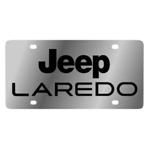 Eurosport Daytona 1422 1 Mopar Polished License Plate W Black Laredo Logo