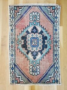Small Vintage Turkish Rug Anatolian Wool Rug Oushak Doormat Carpet 1 5x2 4 Rdm